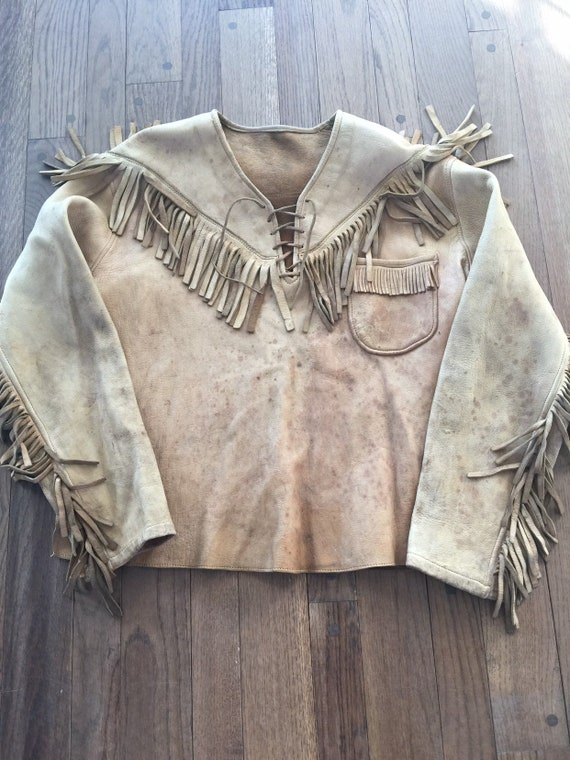 1960s  1970s Deerskin Leather Fringe Hippie Shirt