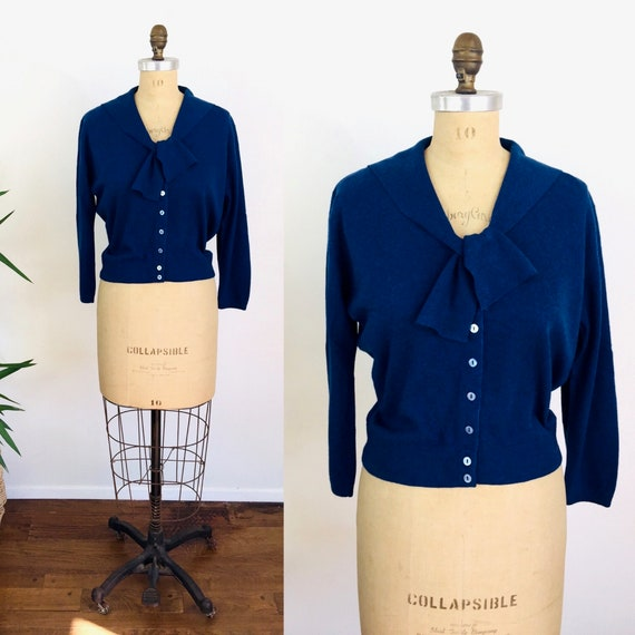 1950s Vintage BALLANTYNE CASHMERE Sweater Royal Bl