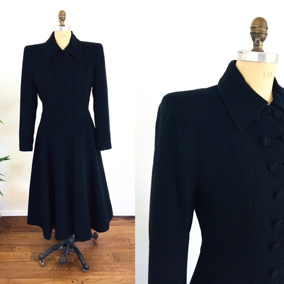 1930s 1940s Russian Princess Black Wool Cashmere C
