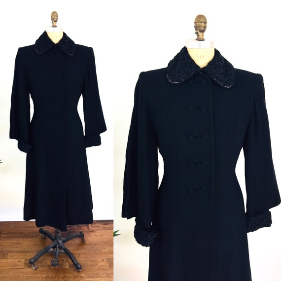 1930s Russian Princess Black Wool Coat Fitted Wais