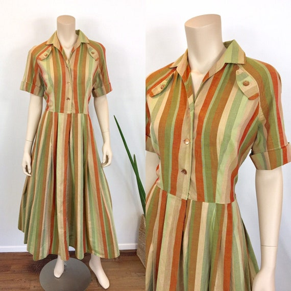 1950s Vintage STRIPED COTTON Pleated Skirt Shirt D
