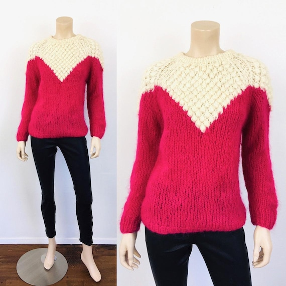 Vintage 1960s HOT PINK Nubby POPCORN Hand Knit Moh