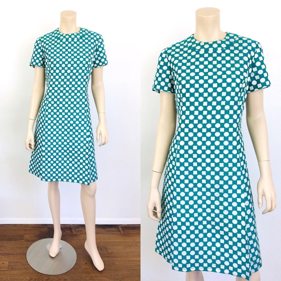 Vintage 1960s GEOMETRIC Green & White Mod Party Dr