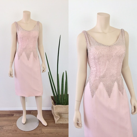 1950s 1960s Vintage Pale PINK BEADED Chiffon Summe