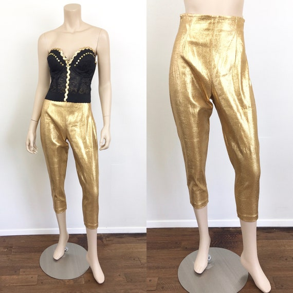 Vintage 1950s GOLD METALLIC High Waisted Lame / Lu