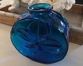 Vintage Blenko Cobalt Blue Three Leaf Clover Art Glass Vase