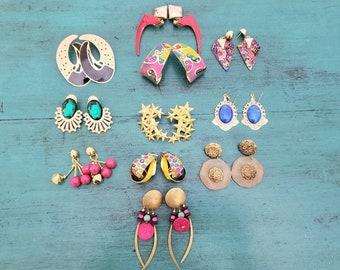 80s Earrings Lot Vintage Bright Colorful 80s Post Earrings Blue Polka Dot Hoops Retro Earrings Lot Big Pink Hoops