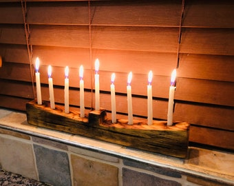 Rustic wooden angled Chanukah Menorah, upcycled  vintage scaffold boards, handmade unique gift