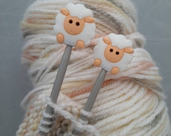 Pair of Knitting Needle stoppers, sheep, wool, cute, knitting needle caps, point protectors, craft gift, knitting present