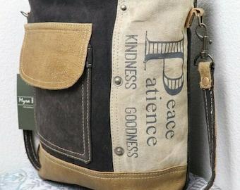 NEW Myra Bag PEACE BE Upcycled Crossbody Bag Canvas Purse Vintage Fashion Purse Women Medium Shoulder Bag Genuine Leather