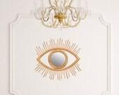 Open Eye Rattan Mirror Wall Hanging