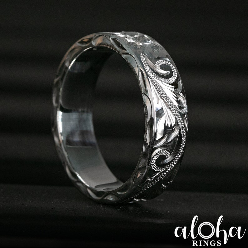 6x2mm Flat Shape Side Wave 925 Sterling Silver Old English Hawaiian Jewelry Ring