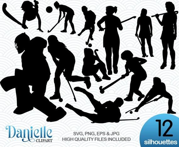 Field hockey equipment black outline silhouette vector illustration  isolated on white background.