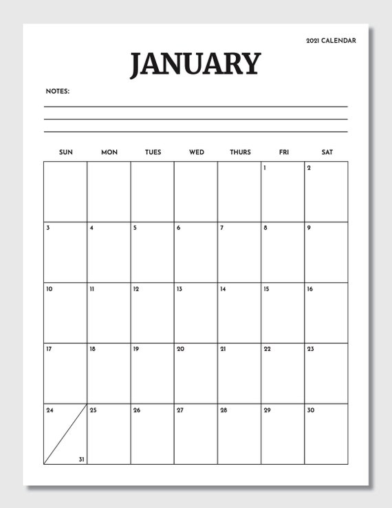 Printable 8.5X11 Calendar : Day24 More Blank Monthly ...