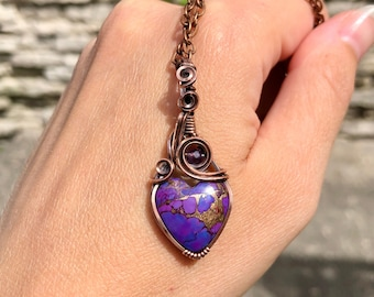 Handmade heart shaped purple Arizona mohave turquoise pendant, handcrafted copper wire wrapped heart gemstone necklace