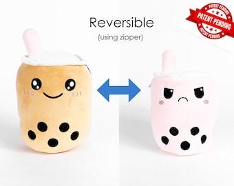 Happy and Mad Reversible / Secret Pouch  Boba Plushie Bubble Tea Plushie Boba Milk Tea