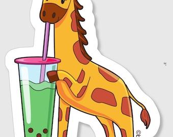 Boba Giraffe Sticker, Giraffe Stickers, Vinyl Stickers, Boba Stickers, Weatherproof Sticker, Cute Stickers, Giraffe Gifts, Giraffe