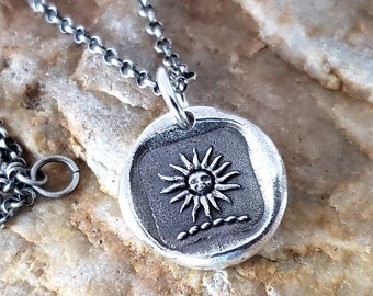 Flower Latin Motto Wax Seal Intaglio Stamp Necklace Pendant Original Design by LilianeTing Handmade Sterling Silver