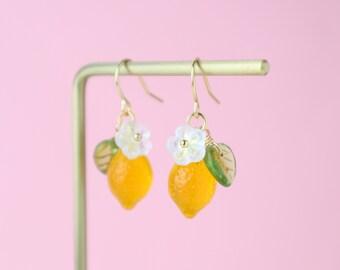 Cute fruit earrings Unique food earrings Czech glass lemon dangling earrings