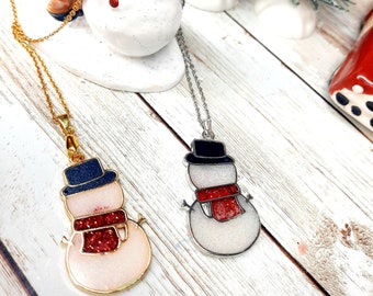 Holiday Necklace- Snowman Pendant, Jack Frost, Christmas Gift, Snowy Man, Frosty the Snowman, Gift for Her