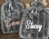 Personalised Glitter Name Hot Water Bottle Luxury Cosy Soft Plush Faux Fur Mothers Day Christmas Birthday Valentine Gifts 2 Litre Capacity