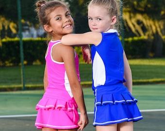 DeuceLuv/ Girl's Blue Tennis Skirt with Ruffled Back