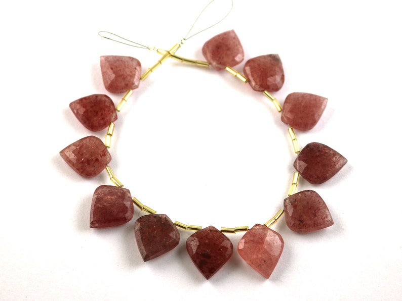 Jewelry Making Beads Strand Gemstone Side Drill Beads Strand Strawberry Quartz Fancy Brioeltte 17x15mm Calibrated Size Beads Strand