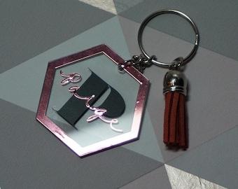 Personalised Keyring Personalised Name Acrylic Hexagon Keychain Customisable Keyring