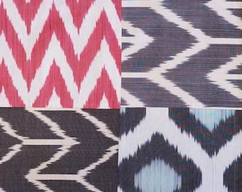 Uzbek Silk Handmade Ikat Pillow Cover, Modern Cushion Cover, Geometric Pillow Case, Colorful Silk Vintage Art Pillow, Bohemian Fabric Pillow