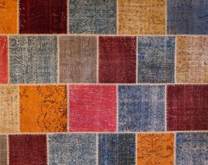 Turkish Isparta Handmade Wool Patchwork Rug