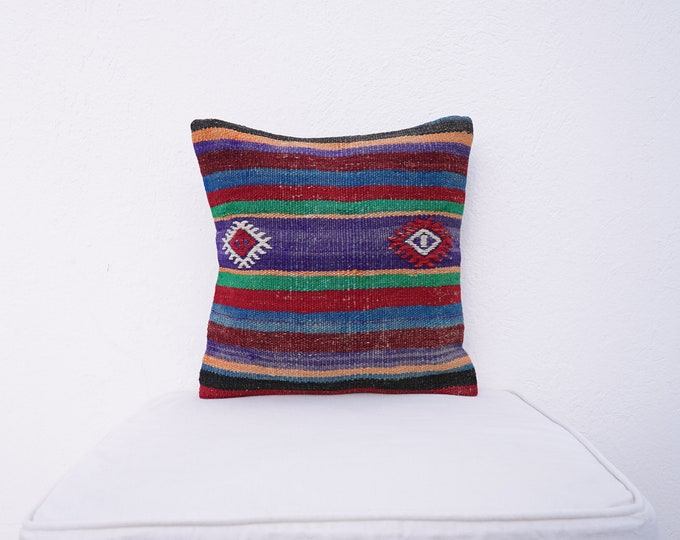 Featured listing image: Turkish Wool Handmade Kilim Pillow Cover, Square Wool Pillow Cover, Anatolia Motif Wool Pillow Case, Small Pillow Cover, Gift Pillow Cases