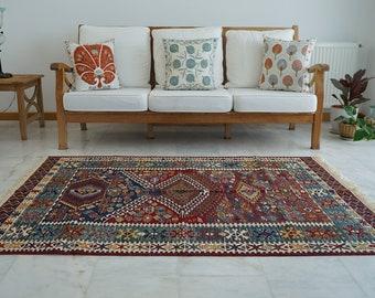 Turkish Wool Handmade Kilim, Embroidery Oriental Kilim Rug, Bohemian Flatview Decorative Rug, Authentic Area Oushak Kilim Rug, Vintage Rug