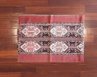 Anatolia Wool Handmade Rug Sack, Antique embroidery kilim, Vintage kilim pillow, Big Kilim Pouf, Bohemian Turkish tribal kilim