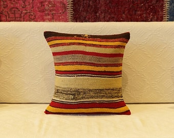 Turkish Wool Handmade Kilim Pillow Cover, Square Wool Pillow Cover, Anatolia Motif Wool Pillow Case, Small Pillow Cover, Gift Pillow Cases