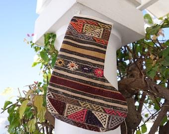 Handmade Kilim Christmas Socks, Gift Christmas Stocking, Organic Wool Handwoven Christmas Stocking, Wall hanging decor