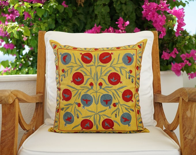 Featured listing image: Uzbek Silk Handmade Suzani Pillow Cover, Embroidery Suzani Cushion Cover, Square Soft Pillow Case, Authentic Vintage Cushion Cover