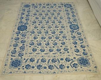 Uzbek Cotton Handmade Suzani Bedspread, Embroidery Suzani Bed Cover, Suzani Linen, Authentic Vintage Suzani Blanket