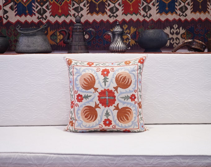 Uzbek Cotton Handmade Suzani Pillow Cover, Embroidery Suzani Cushion Cover, Square Soft Pillow Case, Authentic Vintage Cushion Cover