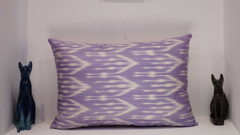 Geometric Pillow Case Modern Cushion Cover Uzbek Silk Handmade Ikat Pillow Cover Colorful Silk Vintage Art Pillow Bohemian Fabric Pillow