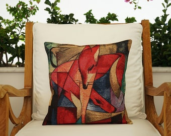 Cotton Painted Pillow Cover, Printed Animal Pillowcase, Cotton Linen Print Pillowcase