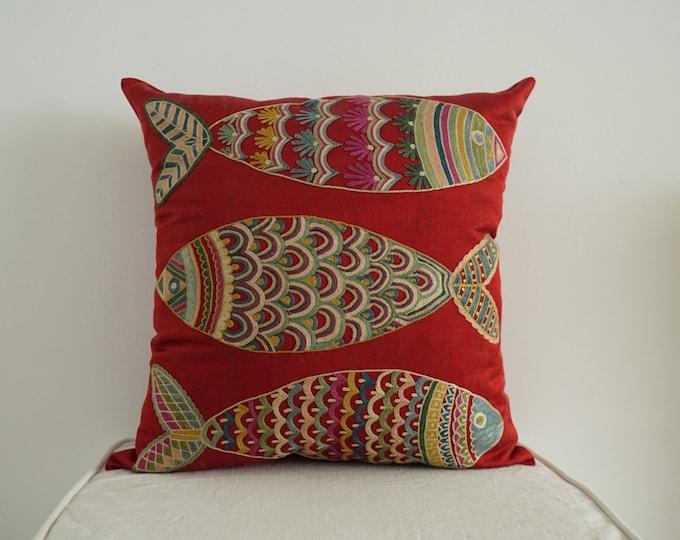 Uzbek Silk Handmade Suzani Pillowcase