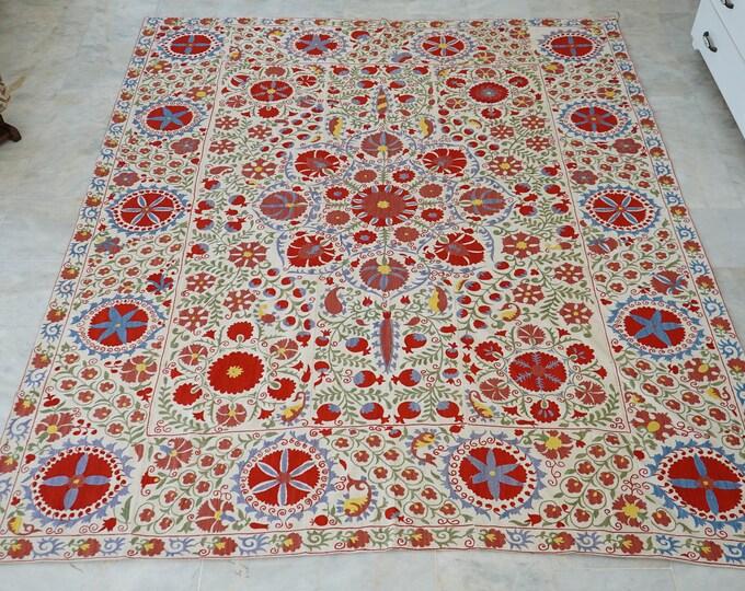 Uzbek Cotton Handmade Suzani Bedspread, Embroidery Suzani Bed Cover, Red Suzani Linen, Authentic Vintage Suzani Blanket