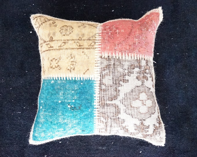 Patchwork Pillowcase, Wool Colorful Cushion Cover, Modern Quilted Pillow ,Organic Pillow, Vintage Pillow Cover, Home Decor Cushion Cover