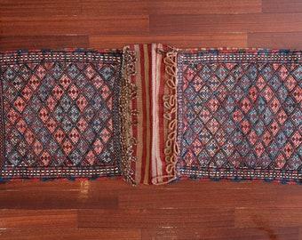Anatolia Wool Handmade Rug Saddlebag, Embroidery kilim bag, Turkish bohemian saddlebag, Tribal embroidery technique, kilim wool antique bag