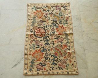 Embroidery Suzani Table Runner, Uzbek Silk Handmade Suzani Runner Gift, Suzani Linen, Authentic Vintage Suzani Quilt, Silk Table cloth
