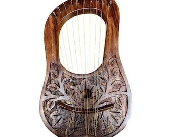 Rosewood Lyre Harp 10 Metal Strings/Rosewood Lyre Harp Flower Design 10 Strings/Lyra Harp