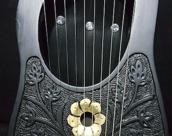 Lyre Harp Black Rosewood 10 Metal Strings Golden Flowers/Rosewood Lyre Harp 10 Strings/Lyra Harp