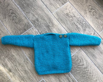Hand knitted teal baby jumper 6-9 months