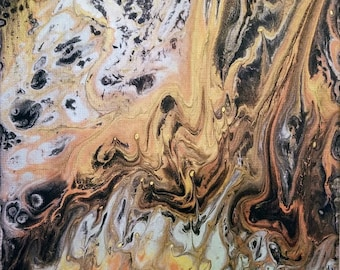 Acrylic Pour on Canvas #80  11x 14 AbstractPsychedelic