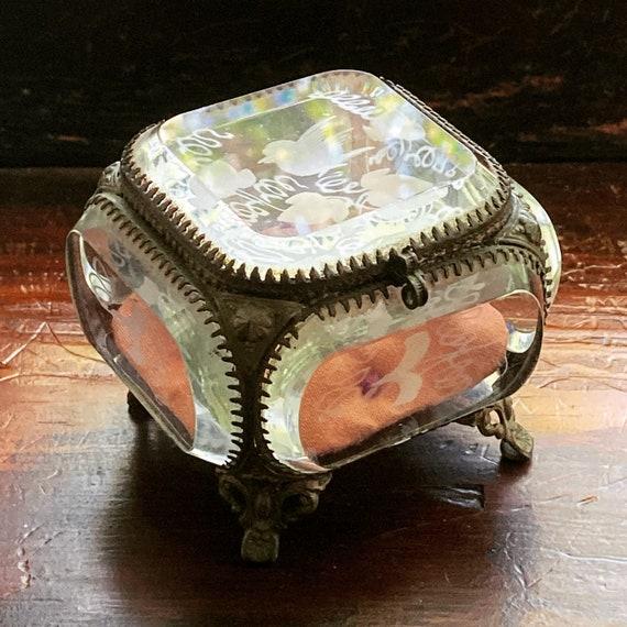 French antique glass box jewelry casket ormolu